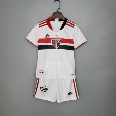 Camisa São Paulo I 21/22 Torcedor Adidas Infantil + Short