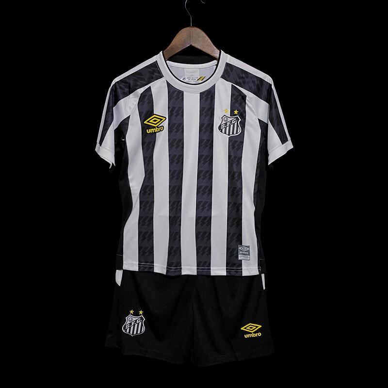 Kit Camisa  Santos Infantil II 21/22  Torcedor Umbro - Branco+Preto