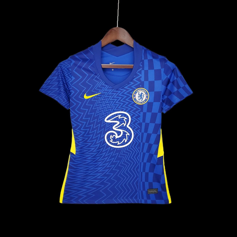 Camisa Chelsea Home 2021/2022 Torcedor Nike Feminina - Azul+amarelo