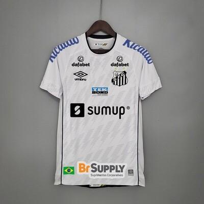 Camisa Santos I 21/22 Torcedor Umbro Masculina - Branco+Preto Patrocínios