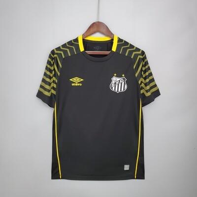 Camisa de Goleiro Santos 21/22 Torcedor Umbro Masculina - Preto+Amarelo