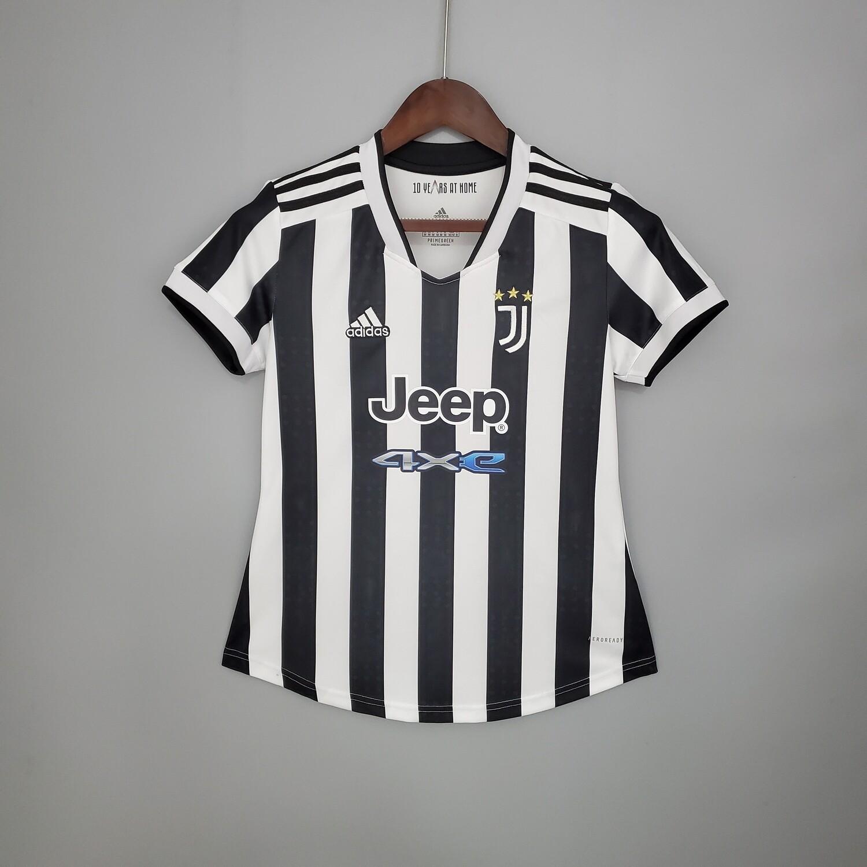 Camisa Juventus Home 21/22 Torcedor Adidas Feminina  - Branco e Preto
