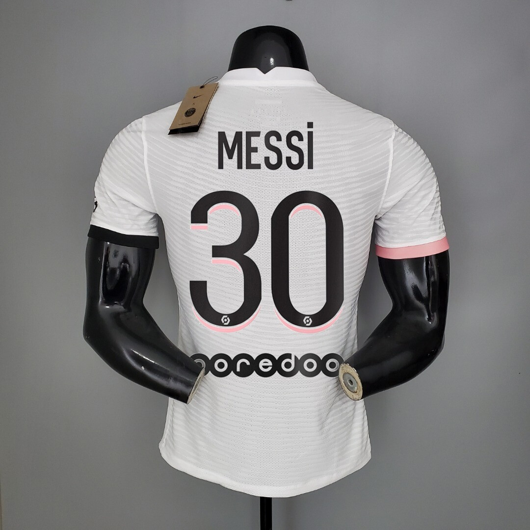 Camisa Nike PSG  2020/21 Jogador Masculina Rosa e Branca - Messi #30