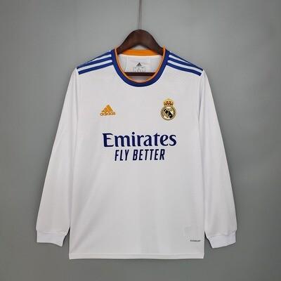 Camisa  Real Madrid 2021-2022 Adidas Home Manga Longa