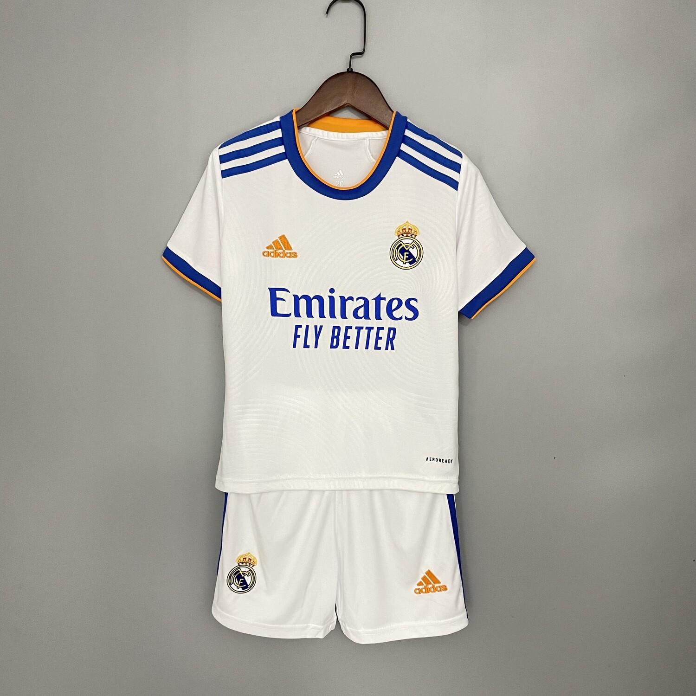 kit Camisa Infantil Real Madrid 2021/2022  Home