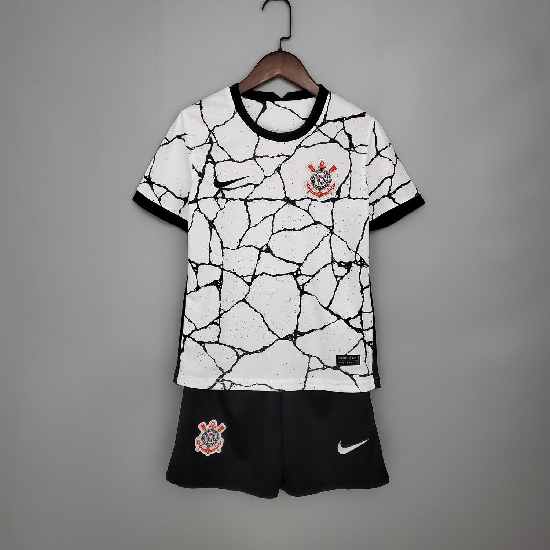 kit Camisa Corinthians Infantil 2021 Home