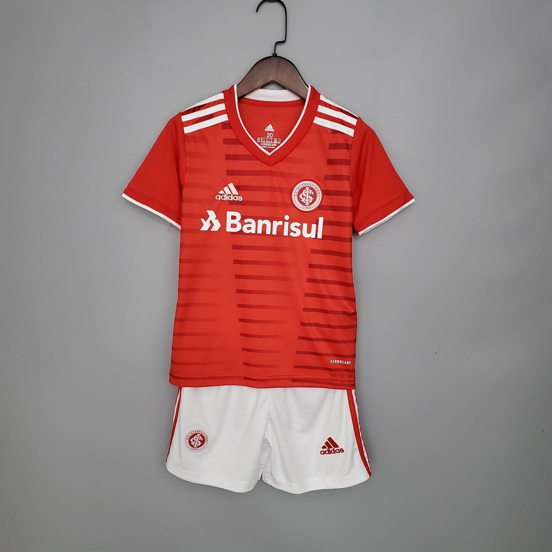 kit Camisa Internacional Infantil I 2021/2022 Torcedor Adidas - Vermelho