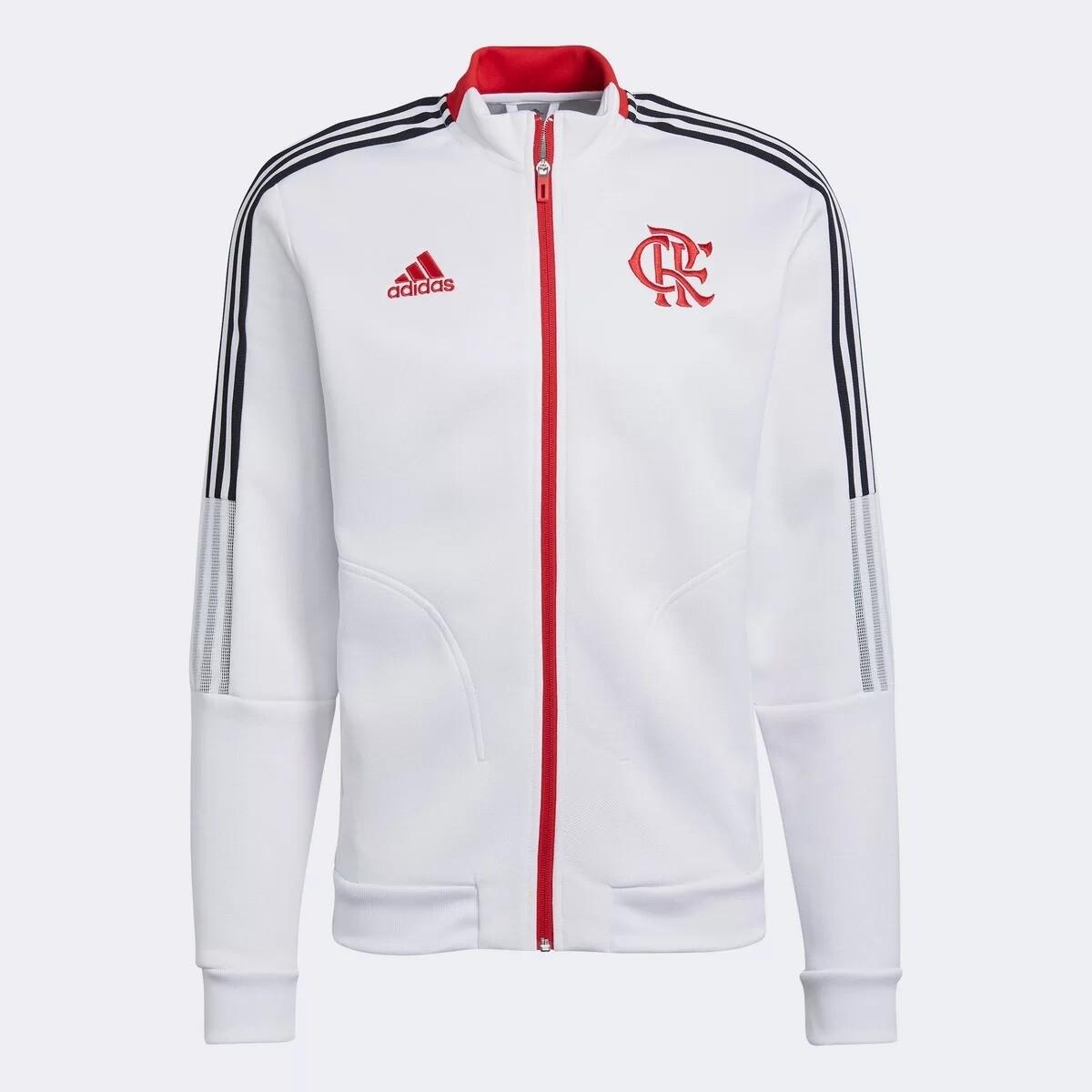 Jaqueta Flamengo 21/22 Hino Adidas Masculina - Branco