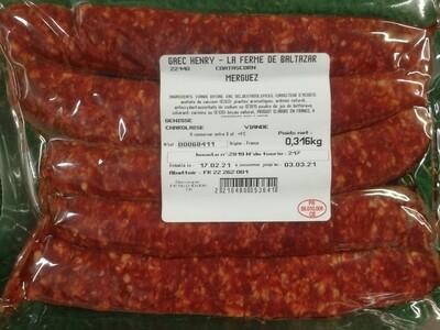 Merguez (Boeuf plein air) 14€/kg congelé