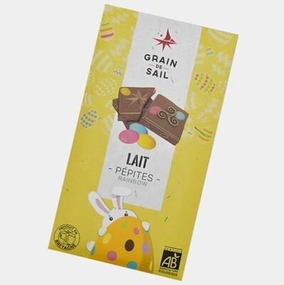 Tablette de chocolat au lait et pépites rainbow - bio