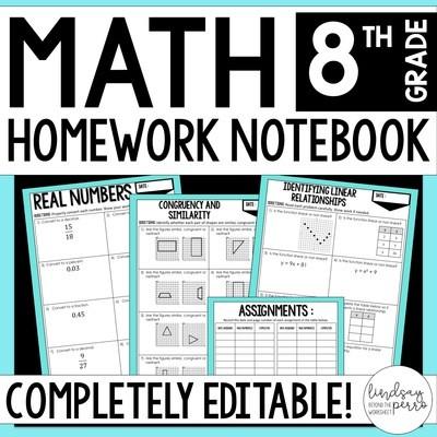 8th Grade Math Homework - A Full Year of Editable Homework
