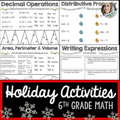 6th Grade Christmas Math Activities