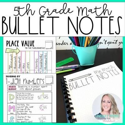 5th Grade Math Bullet Notes