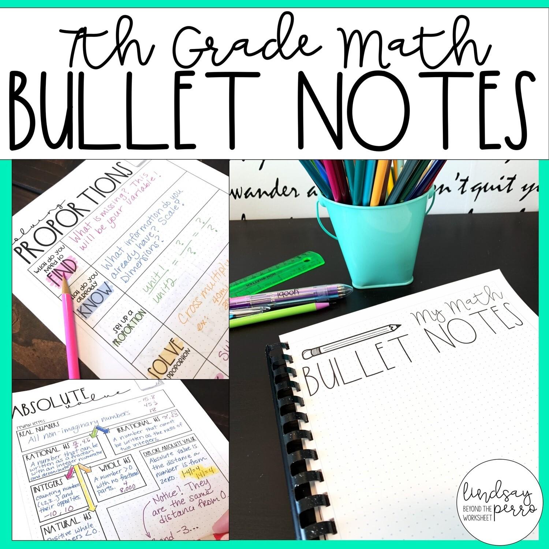 7th Grade Math Bullet Notes