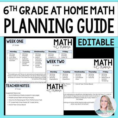 6th Grade Math Home Learning Template