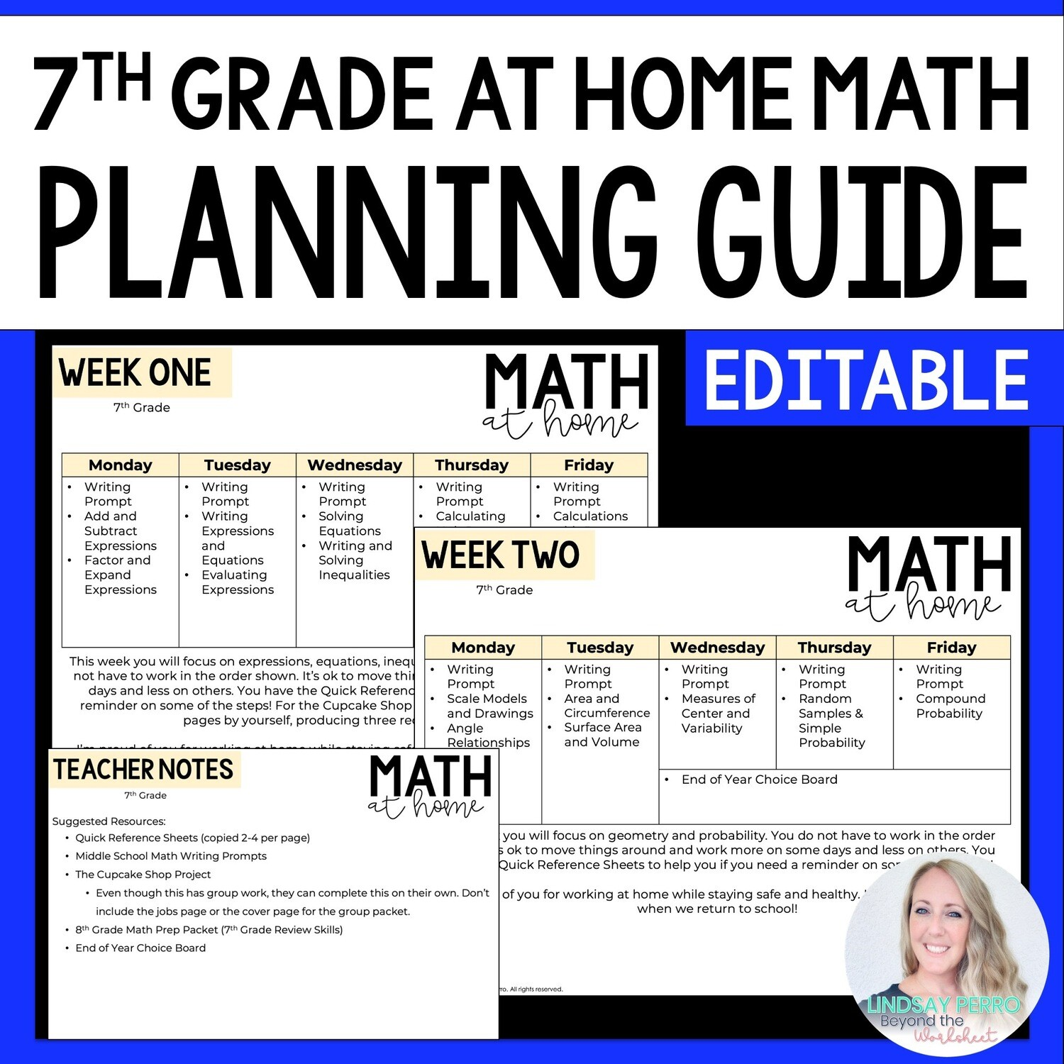 7th Grade Math Home Learning Template