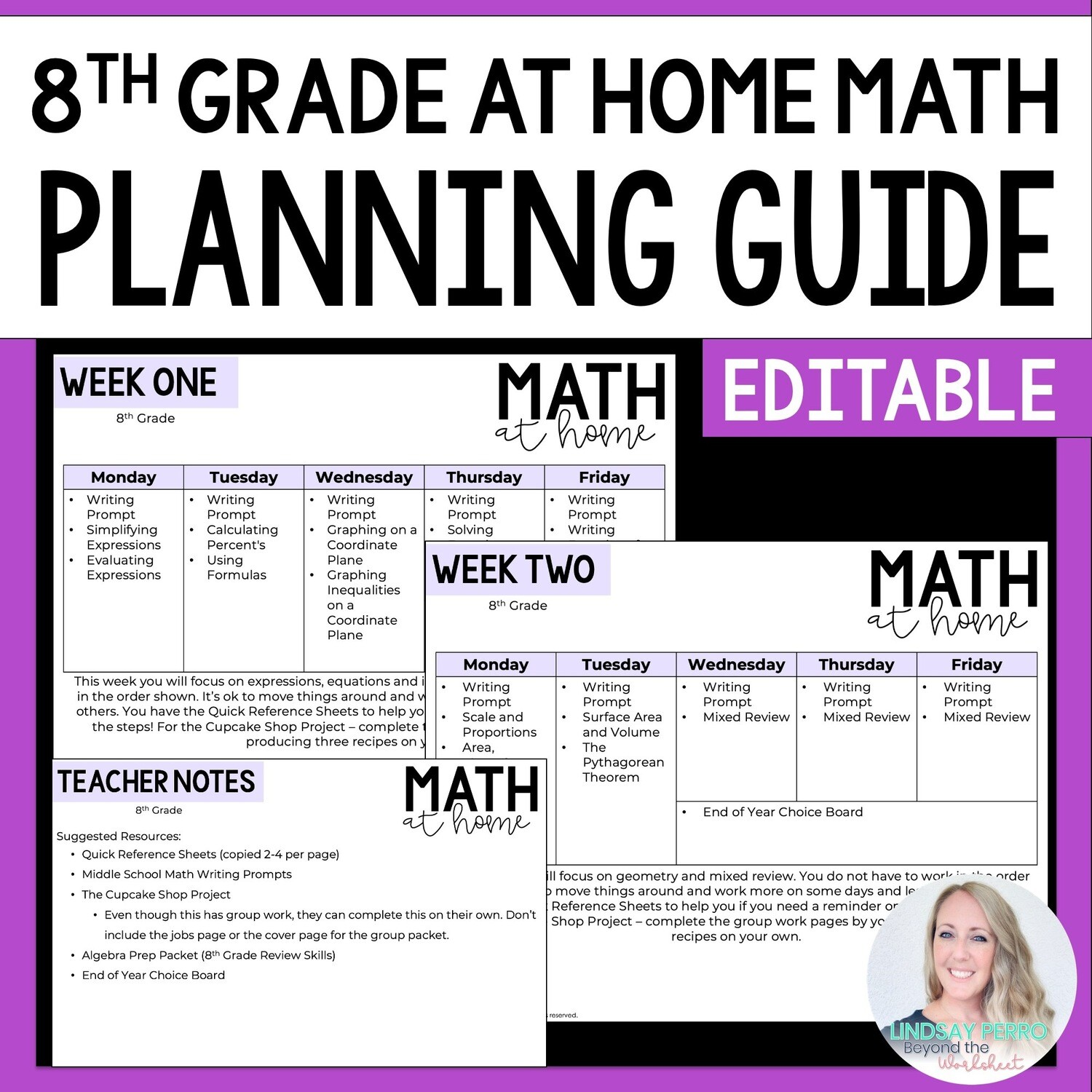 8th Grade Math Home Learning Template