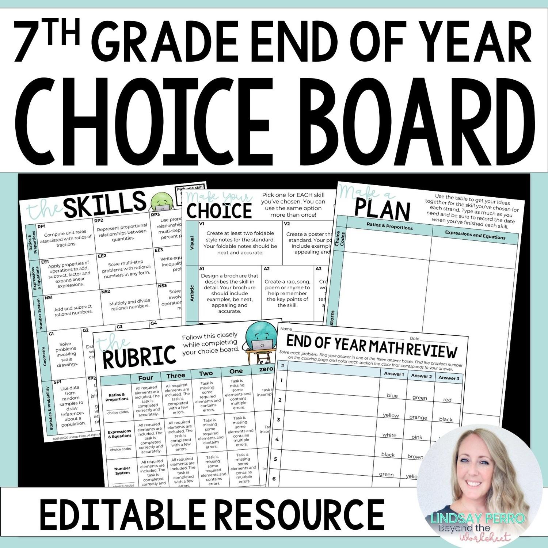 End of Year 7th Grade Math Choice Board