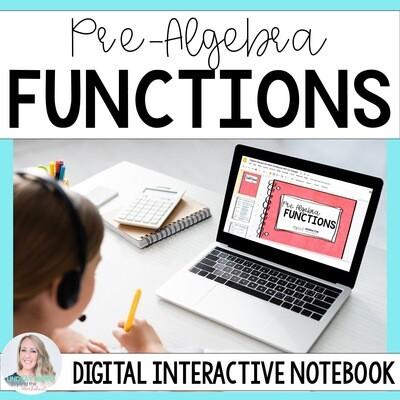 Functions Digital Interactive Notebook for Pre Algebra