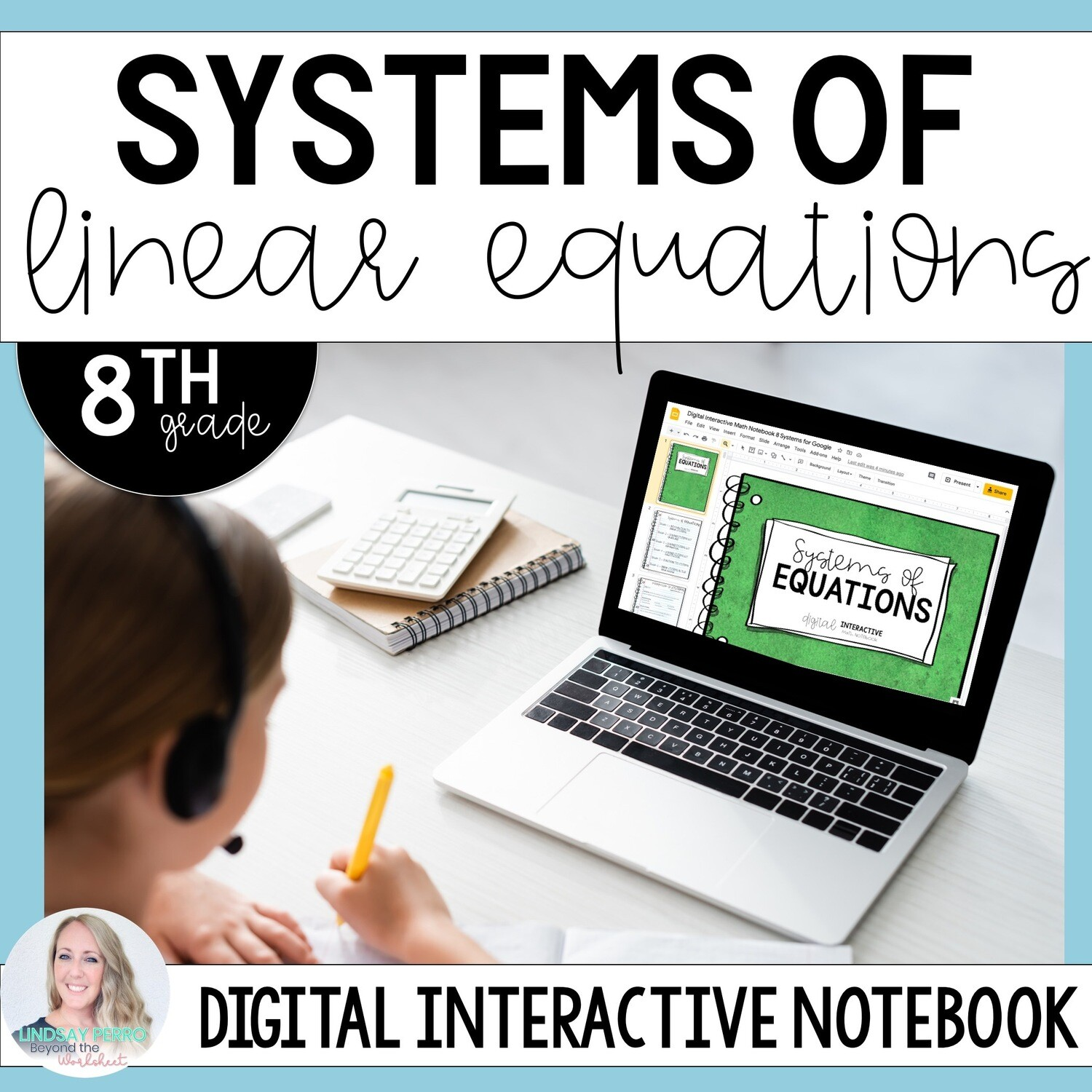Systems of Equations Digital Interactive Notebook for 8th Grade