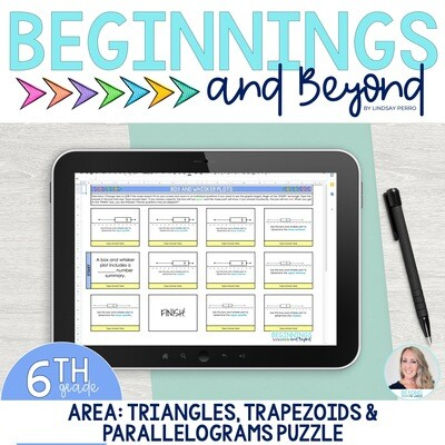Area of Triangles, Trapezoids and Parallelograms Digital Puzzle