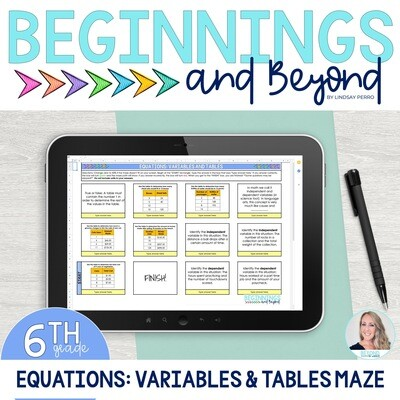Equations: Tables and Variables Digital Maze