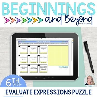 Evaluating Expressions Digital Puzzle