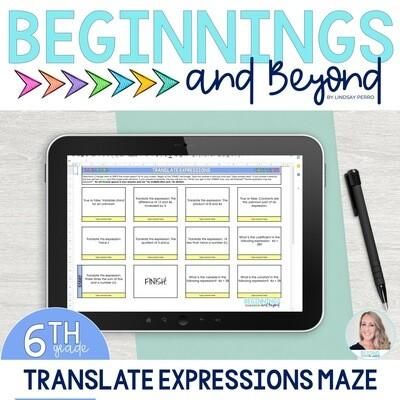 Translating Expressions Digital Maze