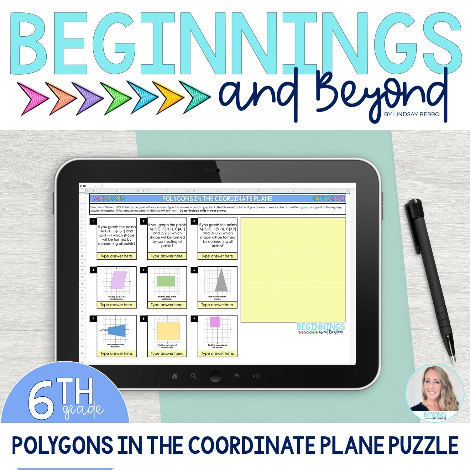 Polygons in the Coordinate Plane Digital Puzzle