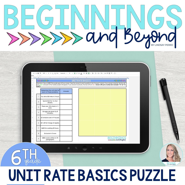 Unit Rate Basics Digital Puzzle