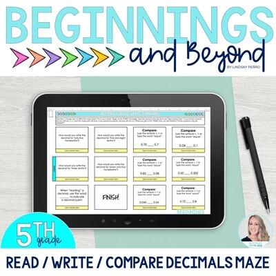 Read, Write and Compare Decimals Digital Maze