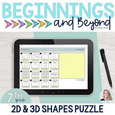 2D and 3D Shapes Digital Puzzle