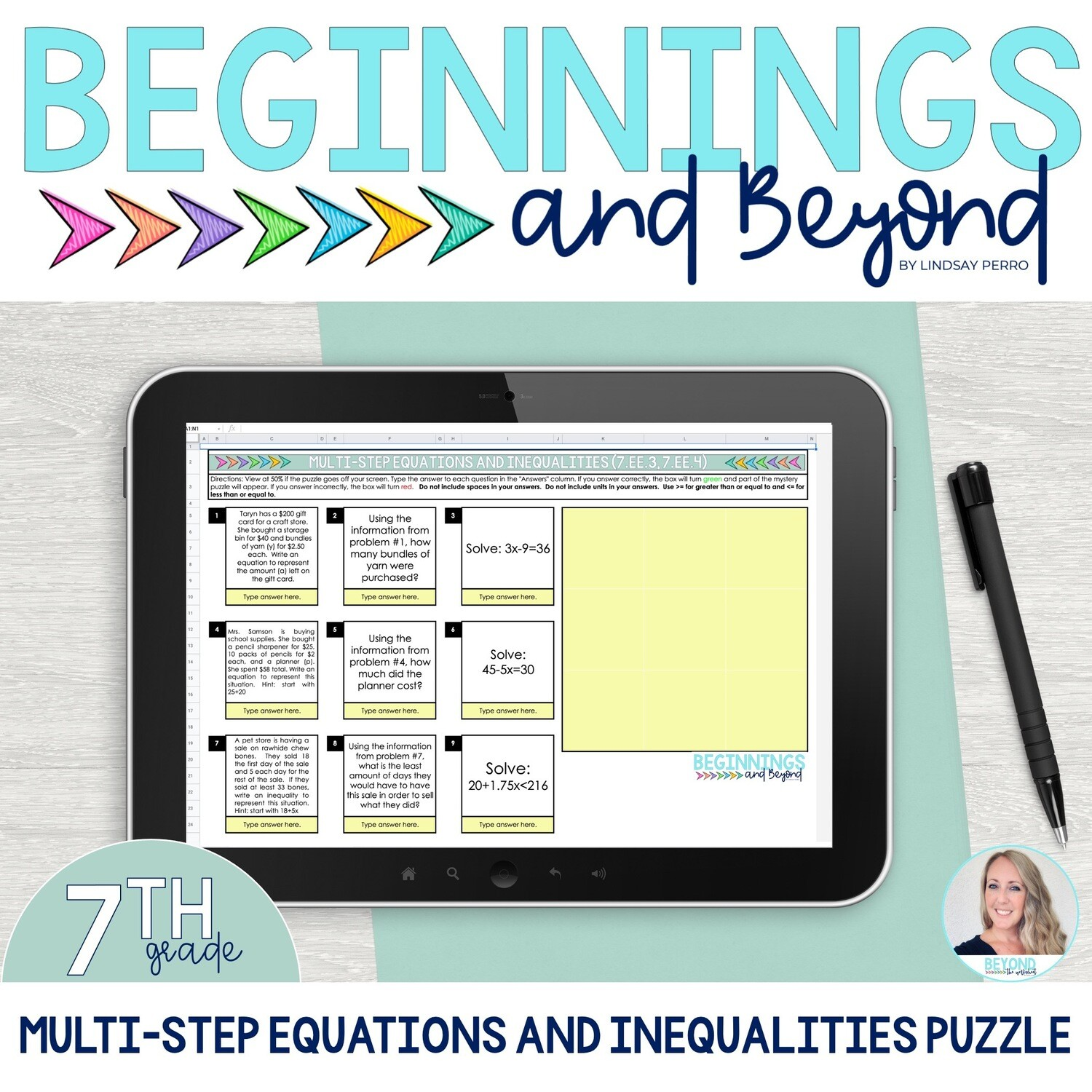 Multi-Step Equations and Inequalities Digital Puzzle