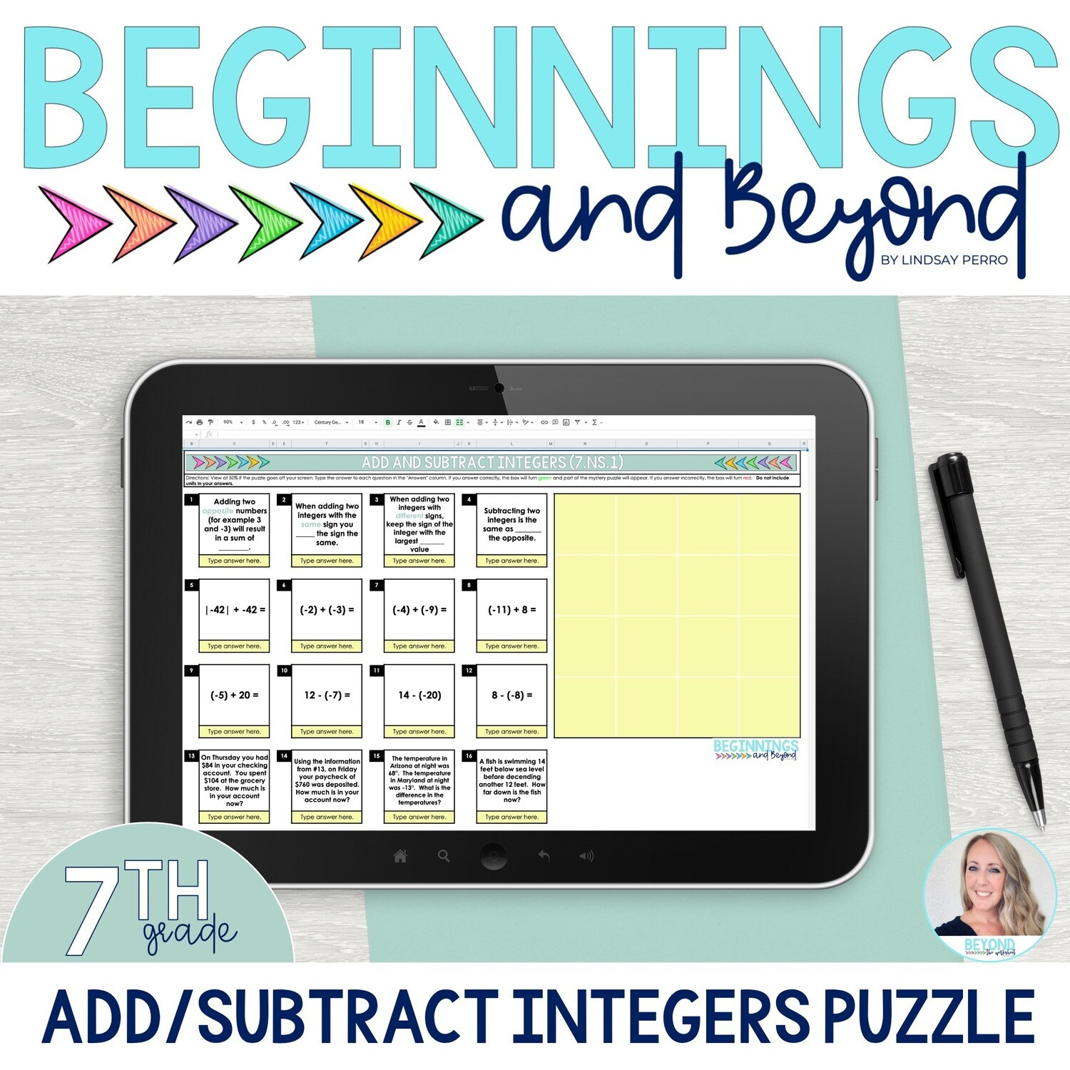 Add and Subtract Integers Digital Puzzle