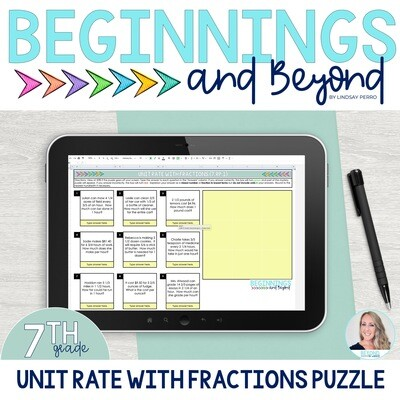 Unit Rate with Fractions Digital Puzzle