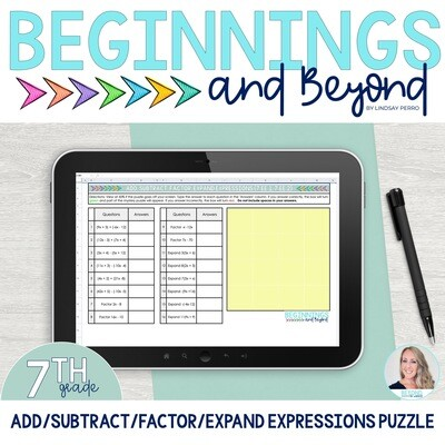 Add, Subtract, Factor and Expand Expressions Digital Puzzle