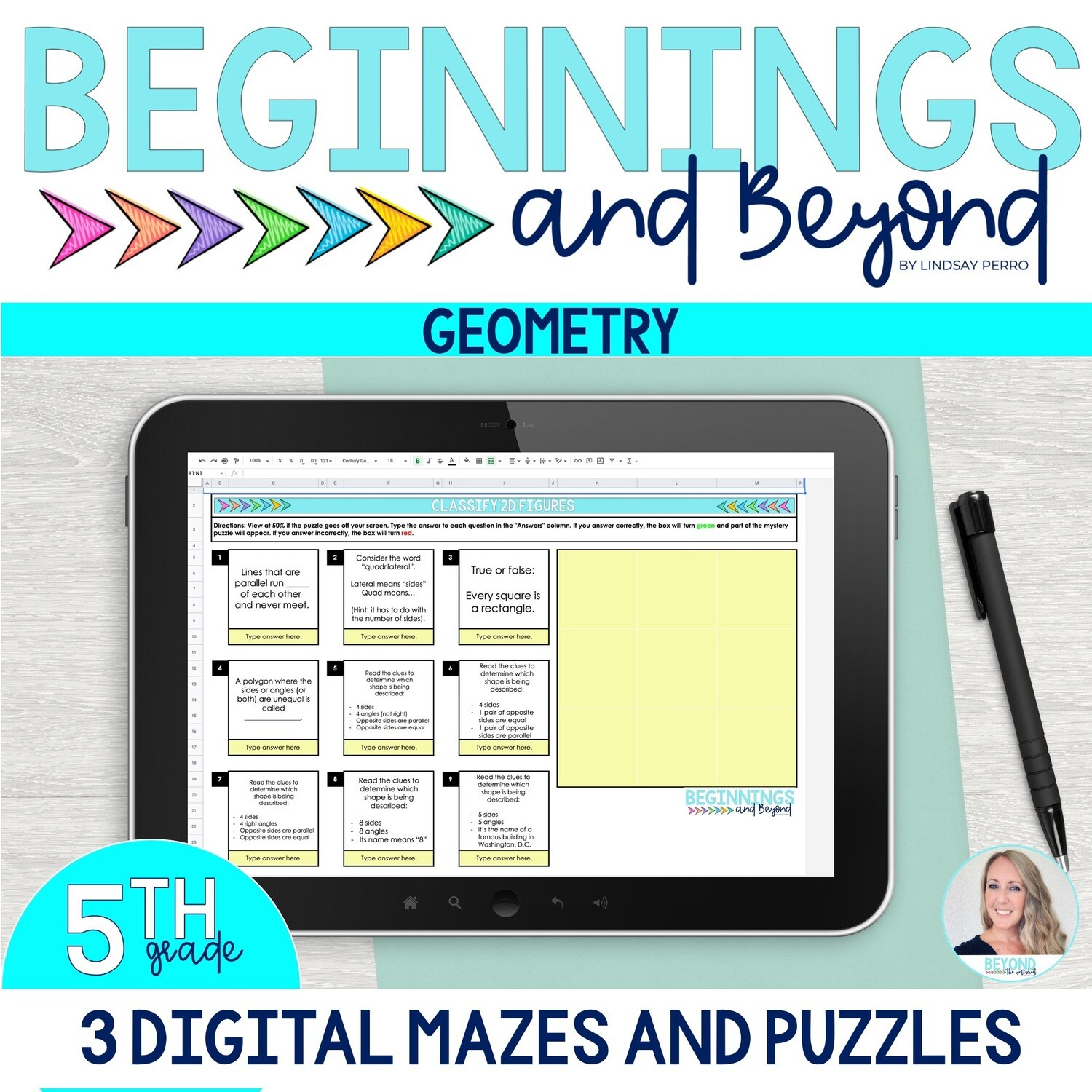 5th Grade Geometry Digital Maze and Puzzle Bundle