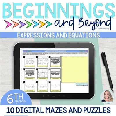 6th Grade Equations and Expressions Digital Maze and Puzzle Bundle