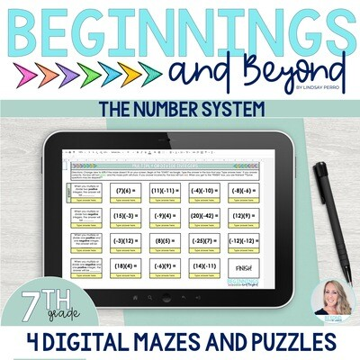7th Grade Number System Digital Maze and Puzzle Bundle