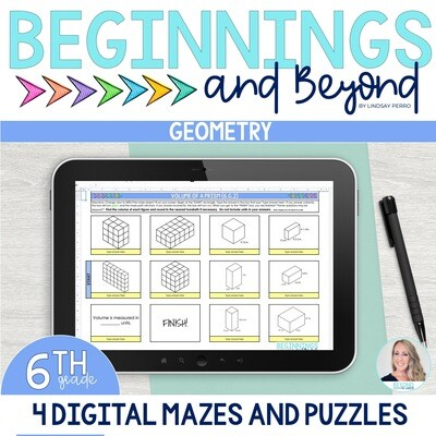 6th Grade Geometry Digital Maze and Puzzle Bundle