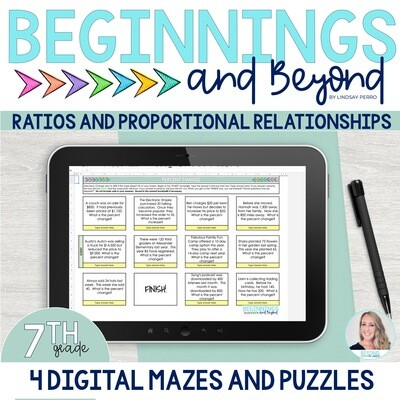 7th Grade Ratios and Proportions Digital Maze and Puzzle Bundle
