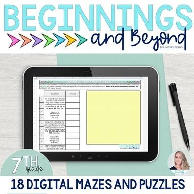 7th Grade Digital Maze and Puzzle Bundle