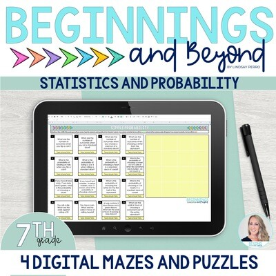 7th Grade Statistics and Probability Digital Maze and Puzzle Bundle
