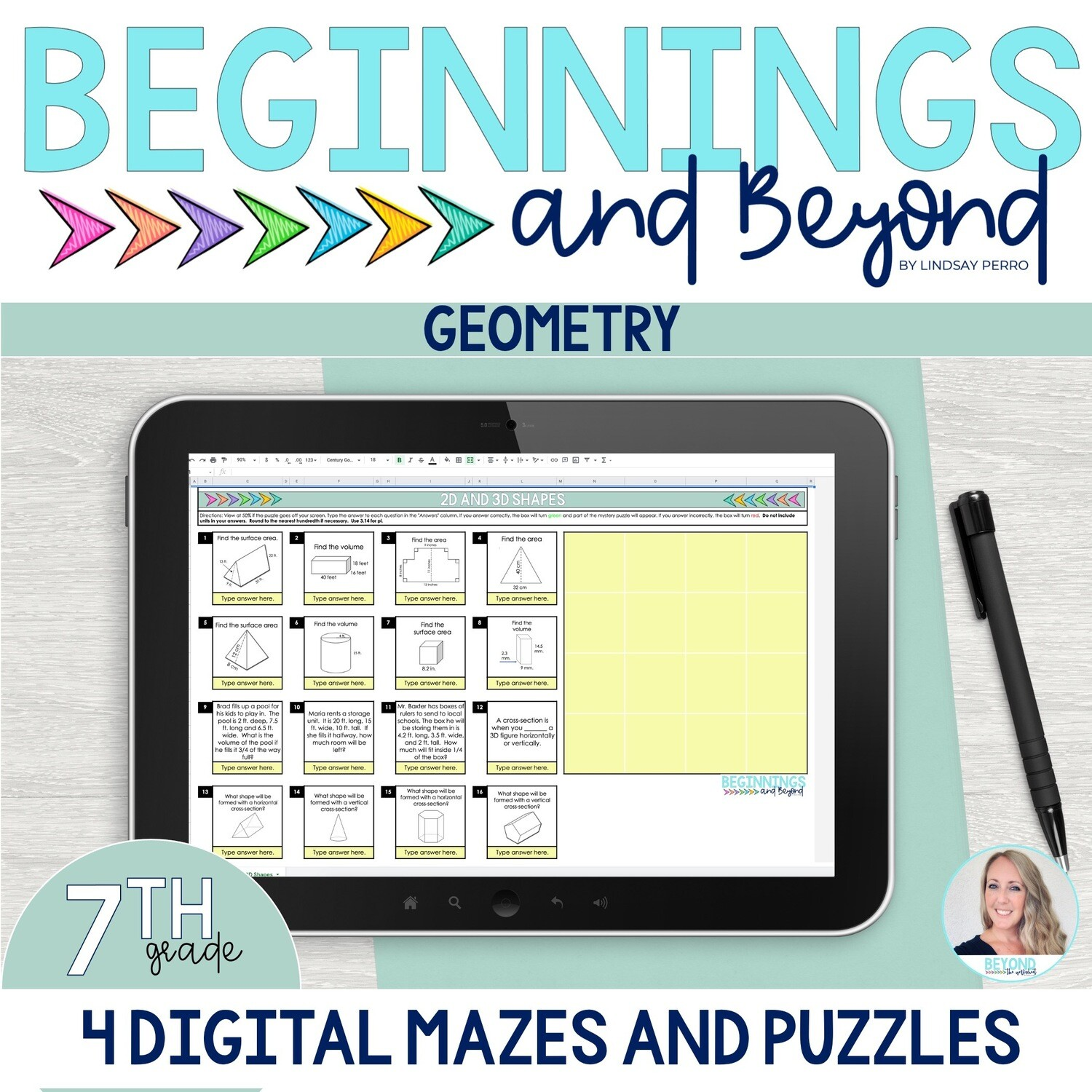 7th Grade Geometry Digital Maze and Puzzle Bundle