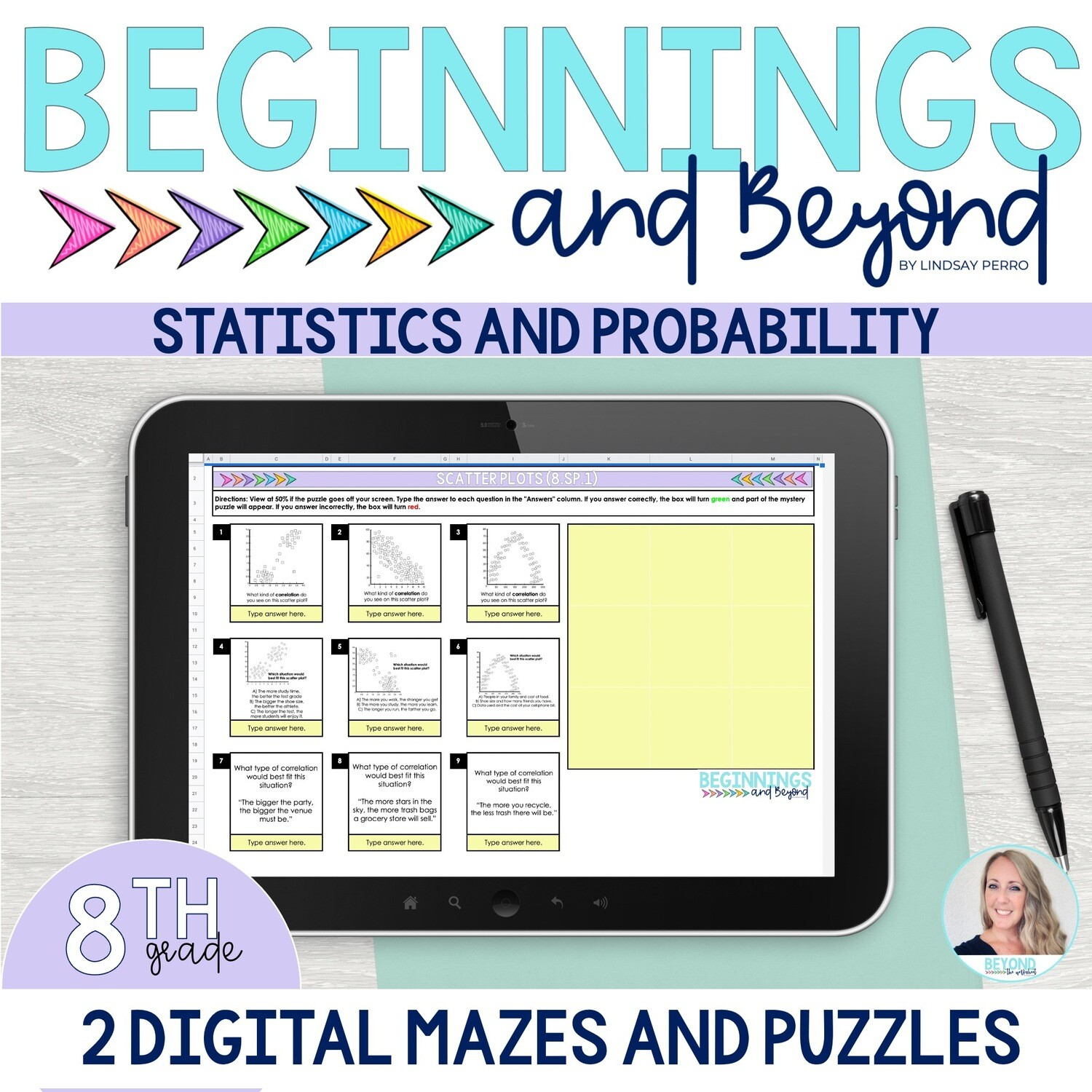 8th Grade Statistics and Probability Digital Maze and Puzzle