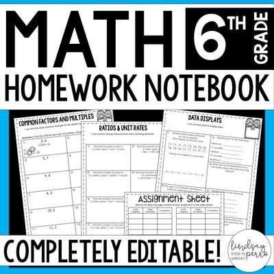 6th Grade Math Homework - A Full Year of Editable Homework