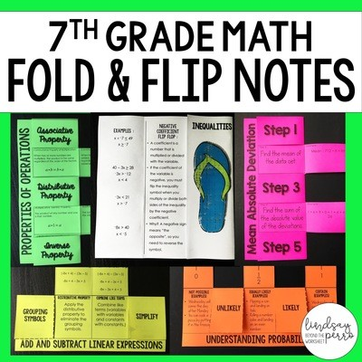 7th Grade Math Foldable Style Notes