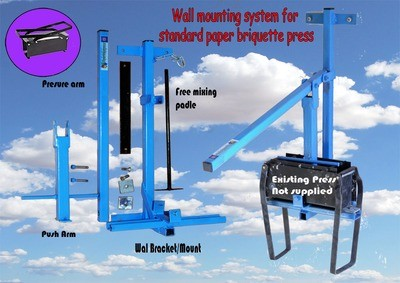 Wall mounting kit for standard briquette press