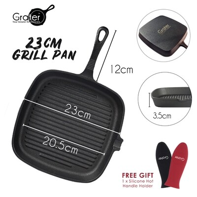 23cm / 9in Pre-seasoned Square Cast Iron Grill Pan