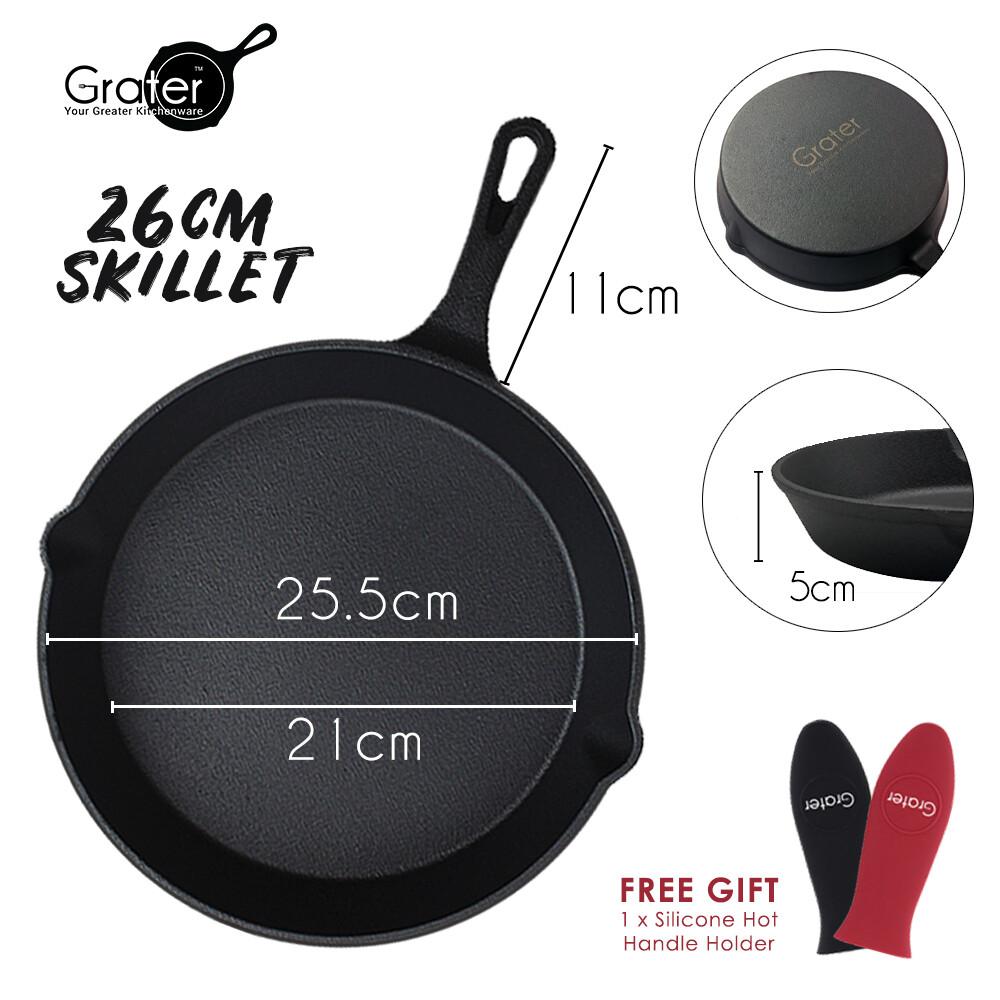 26cm / 10in Pre-Seasoned Cast Iron Skillet Round Pan